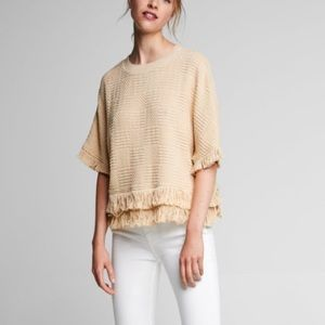 Zara Tweed top with fringe XS sand color blouse